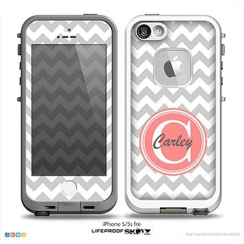 The Gray & White Chevron Monogram Name Script Skin v1 Skin for the iPhone 5-5s frē LifeProof Case