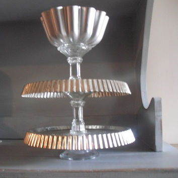 Gorgeous upcycled 3 tiered Pedestal Stand ~ dessert ~ display ~ organizer ~ Kitchen ~ Wedding Cupcake Silver and Glass