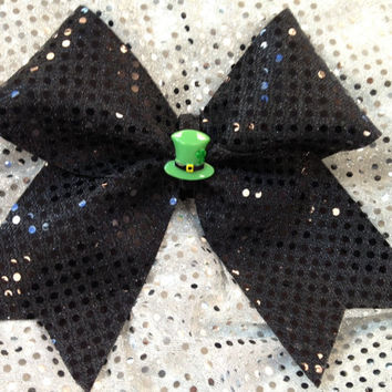 1 St. Patrick's Day Green Hat Sparkle Cheer Dance Bow Ribbon