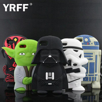 YRFF 2016 Cartoon 3D Cute star wars Extraterrestrial Alien Soft silicone case For iphone 5 5s/6 6s/6plus Darth Vader case