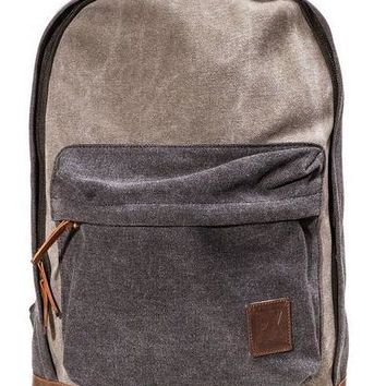 Brandon Canvas Backpack in Charcoal