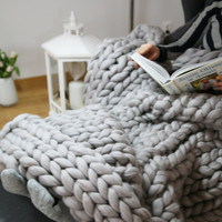 Throw Blanket Sofa Chunky Knit Blanket Throw Extrem Knitting Merino Wool Blanket Home Decor Cozy  Blanket Super Chunky Throw Bedding Gift