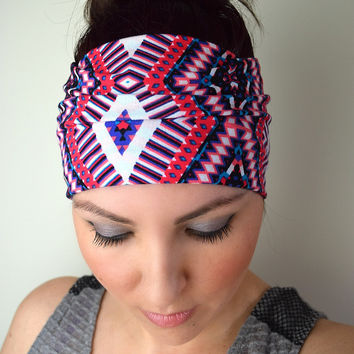 Summer Aztec - Wide Yoga Headband