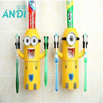 2016 Products Cute Minions Design Set Cartoon yellow doll Toothbrush Holder Automatic Toothpaste Dispenser toothpaste
