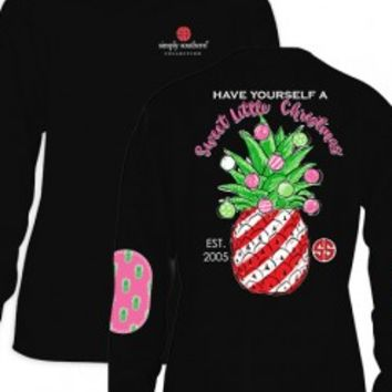 "Simply Southern ""Sweet Little Christmas"" Long sleeve Tee- Black"
