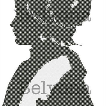 Girl Silhouette Black & white Counted Cross Stitch Pattern PDF Instant Download. Modern stitch design,Modern cross stitch,Modern Embroidery
