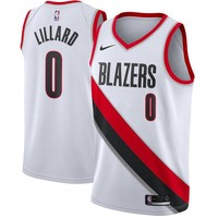 Damian Lillard Portland Trail Blazers # 0 Nike White Swingman Association Edition Jersey - Best Deal Online