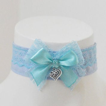 Kitten play day collar - Blue bloom - ddlg princess fairy kei kawaii cute neko pet girl - blue with big bow and heart