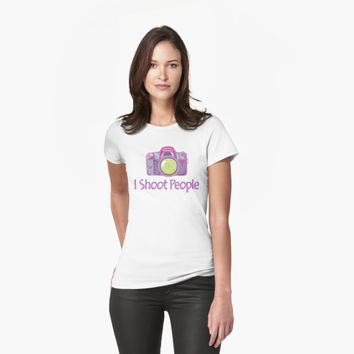 I Shoot People Cute Camera Photography T Shirt by bitsnbobs