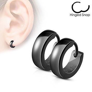 Pair of Classic Plain Dome WildKlass Hoop/Huggie Stainless Steel Earrings