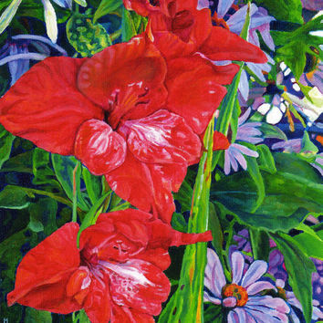 "Giclee print on canvas, matted - Gladiola With Echinacea - 8"" x 10""  - Signed/Editioned"