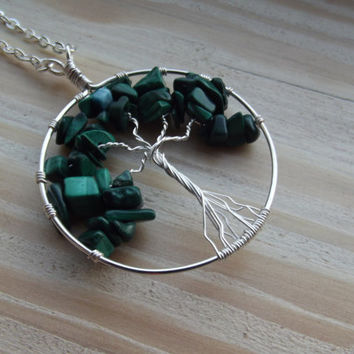 Wire Pendant - African Jade & Silver Tree of Life Wire-Wrapped Pendant