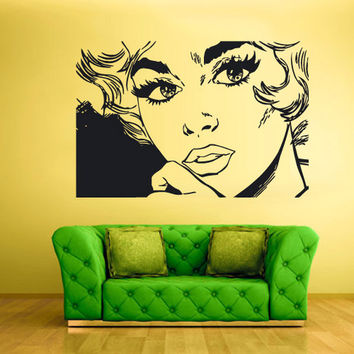 rvz1754 Wall Decal Vinyl Sticker Decals Girl Face Poster Lips Hairs Kiss Cartoon