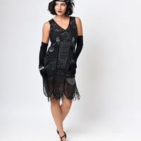 """Unique Vintage 1920s """"The Bosley""""  Black Beaded Flapper with Beaded Fringe Dress"""