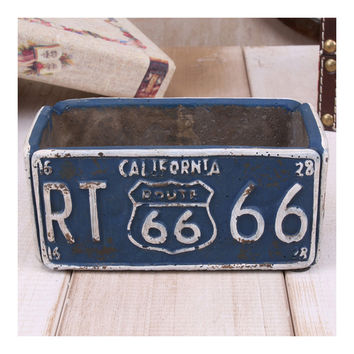 Vintage Route 66 Ashtray Car Plate Ashtray Succulent Pot    blue