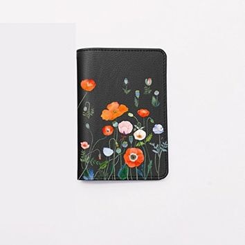 Poppy Flowers Passport Holder -Leather Passport Cover - Vintage Passport Wallet - Travel Accessory Gift - Travel Wallet for Women and Men_LOKISHOP