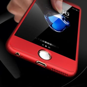 FLOVEME Full Protective Case For iPhone X 8 7 6 6S Plus 5 Tempered Glass