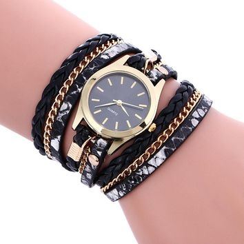 Bohemian Style Fashion Weave Leather Wrist Bracelet+Watch Set