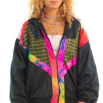 Vintage 80's Tie Dye Trim Windbreaker - One Size Fits Many