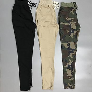 Supremitied Fear of God Pants Men Camo Hip Hop Justin Bieber KANYE WEST Skateboards Purpose Tour Casual Zipper Style Sweatpants