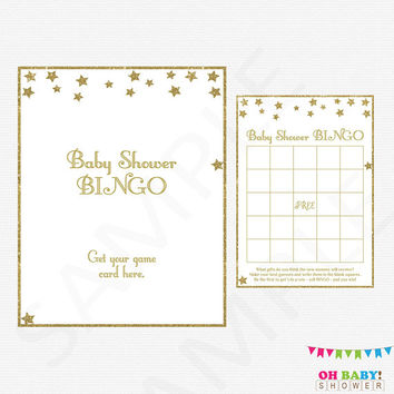 BINGO Cards, Gold Baby Shower, Twinkle Twinkle Little Star Baby Shower, Baby Bingo Game, Baby Bingo, Printable Bingo, Sign, Digital, STGG
