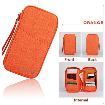 ORANGE Travel Journey Document Organizer Wallet Passport ID Card Holder Ticket Credit Card Bag Case