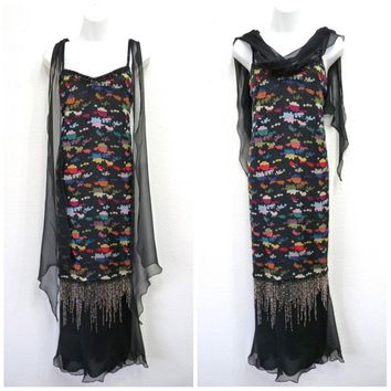 Vintage 1970s Dress - Holly Harp Flapper Fringe Beaded Embroidery Floral Black Chiffon Shawl 20s Evening gown S