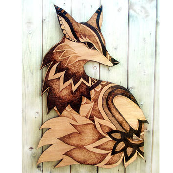 Larger Fox Wall Hanging, Pyrography wood wall hanging, Wood burning, Wall art, fox decor, animal, folk art, woodland decor, forest, foxes