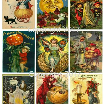 Printable Vintage Halloween Cards Collage Sheet 102.