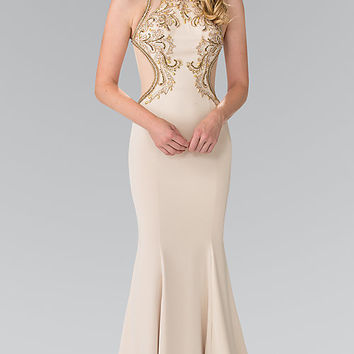 Long Sheer Back Prom Dress with Illusion Cut Outs