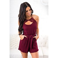 Lost Control V Neck Romper (Burgundy)