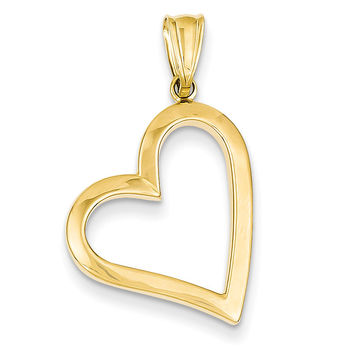 14k Hollow Heart Pendant K4664