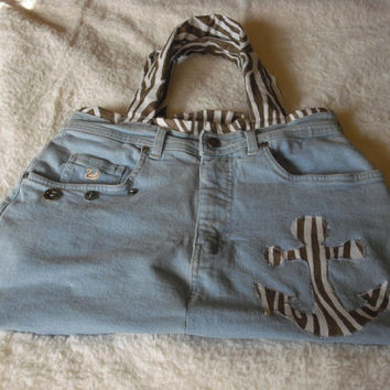 Beach bag denim purse Nautical hand bag Blue jean purse Denim handbag Custom designed denim purse Denim purse © Jack Jack's Wayart