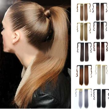 Hot New Real New Clip In Human Hair Extension Straight Pony Tail Wrap Around Ponytail Oct 27