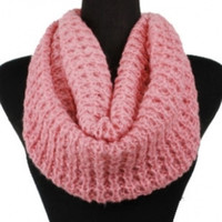 Soft Warm and Cozy Solid Pink Crochet Infinity Scarf