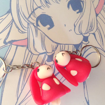 Anime keychain - Chobits Anata large charm - kawaii polymer clay