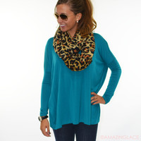 Galloway Teal Piko Long Sleeve Top