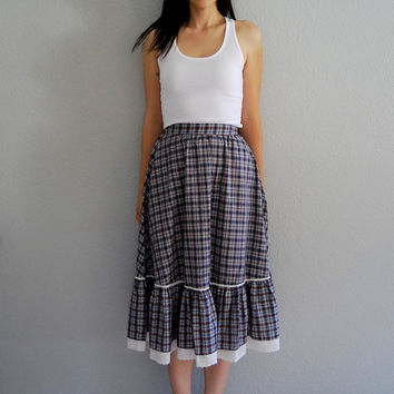 vintage PRAIRIE skirt / 1980s tiered navy blue by vintagemarmalade