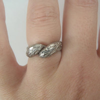 vintage ring with two braided elements 1990 italian 800 silver christmas gift twisted ring engagement ring vintage silver lasoffittadiste