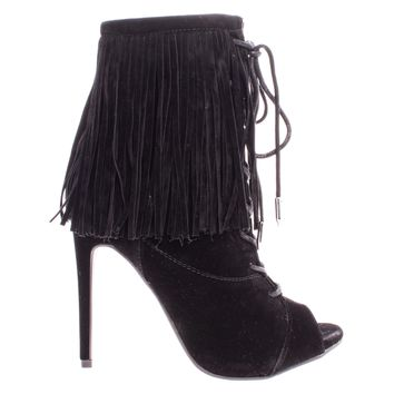 Pompeo Black By Shoe Republic, Boho Peep Toe Fringe Ankle Boots w/ Corset Lace Up High Heel Shoes