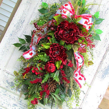 Christmas swag wreath, floral door swag, holiday wreath, year round wreath, everyday swag, winter wreath, shabby chic wreath, red swag