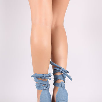 Twisted Denim Strappy Leg Wrap Chunky Heel