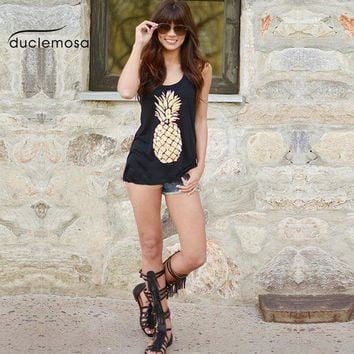 Duclemosa 2016 Casual Summer Sexy Women Blouses Pineapple Printing Vest O Neck Sleeveless Shirt Femme Tank Tops Blusas