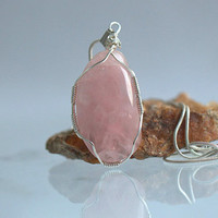 Rose Quartz crystal the stone of love silver wire wrapped free form pendant and necklace