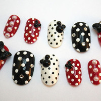 3D Acrylic Nail Tips Polka Dot Bows by NailKandy on Etsy