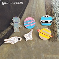 Enamel pin Warfare astronaut robot space shuttle star plant brooches lapel pin badge Space jewelry collection Astronomy Gift
