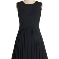 ModCloth LBD Short Length Sleeveless A-line Flair Game Dress in Black