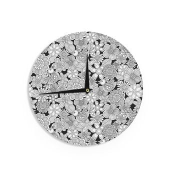 "Julia Grifol ""Welcome White Birds"" Black Floral Wall Clock"
