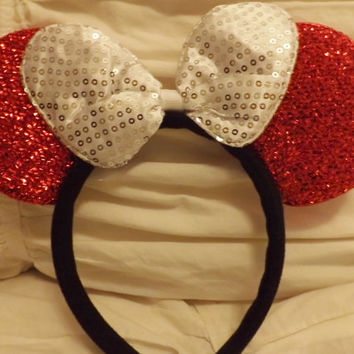 Minnie Mouse Ears Headband Red Sparkle White Sequin Bow Mickey Mouse Ears, Disneyland