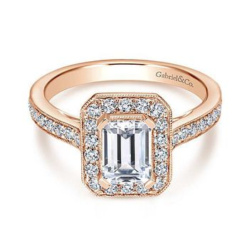 14K Rose Gold 1.50cttw Emerald Cut Bead Set Halo Diamond Engagement Ring with 7x5mm Center Diamond